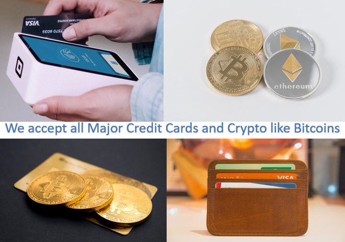 Credit Card and Bitcoin payments welcome