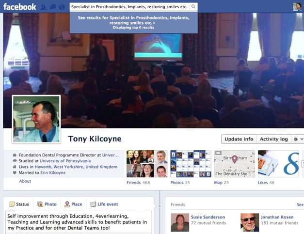 Dr Tony Kilcoyne Facebook page and 1 minute FB tour