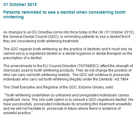 GDC updated Public Guidance Tooth Whitening 311012