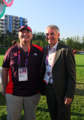 Dr.Tony Kilcoyne and Jonathan Edwards at the Olympics 2012