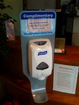Hand Disinfection at reception