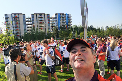 Dr Kilcoyne meets the GB team at the Olympic village London 2012