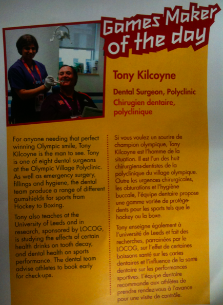Tony Kilcoyne made GameMaker of the day at Olympics 2012