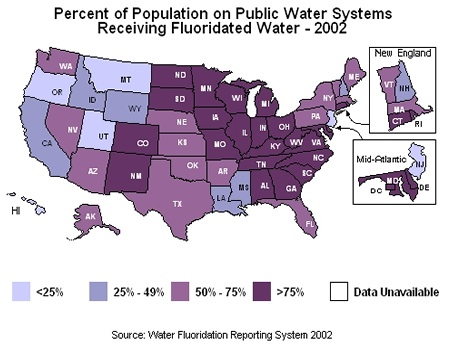 USA mainly Fluoridated Water and expanding it's use